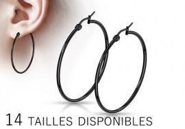 Boucle d'oreille grande créole blackline