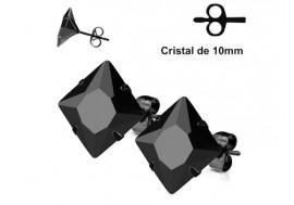 Boucle d'oreille blackline cristal carré noir 10mm