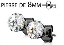 Boucle d'oreille noire cristal griffé 8mm