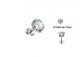 Boucle d'Oreille Cristal blanc griffé 7mm