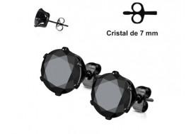 Boucle d'oreille Cristal noir griffé 7mm