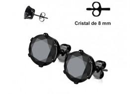 Boucle d'oreille cristal noir griffé 8mm