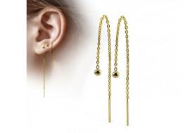 Boucle d'oreille chainette plaqué or