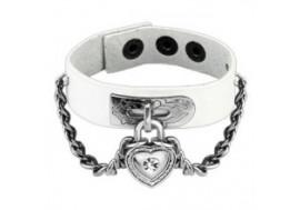 Bracelet en cuir blanc cadenas coeur