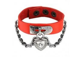 Bracelet en cuir rouge cadenas coeur