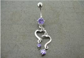 DESTOCKAGE Piercing nombril double coeur violet