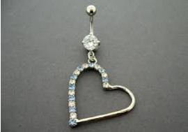 DESTOCKAGE Piercing nombril grand coeur bleu