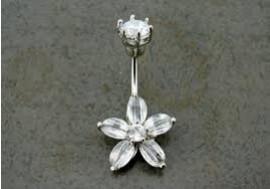 DESTOCKAGE Piercing nombril fleur blanche