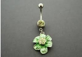 DESTOCKAGE Piercing nombril fleur verte
