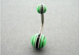 DESTOCKAGE Piercing nombril ACRYLIQUE rayé vert et noir