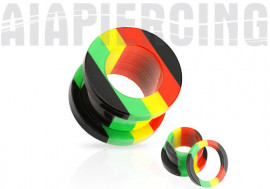 Piercing tunnel vissable acrylique rasta