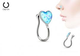 Faux piercing de nez coeur bleu