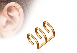 Faux piercing anneau oreille triple plaqué or rose