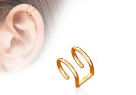 Faux piercing anneau oreille double plaqué or rose