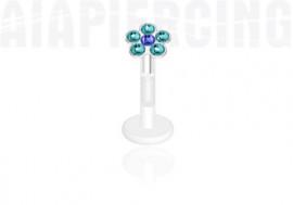 Piercing labret ou tragus fleur bleue