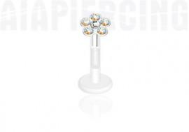 Piercing labret ou tragus fleur blanche irisée