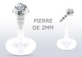 Piercing labret argent pierre blanche 2mm