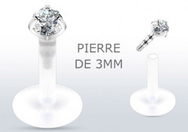 Piercing labret argent pierre blanche 3mm