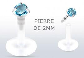 Piercing labret ou tragus pierre turquoise 2mm