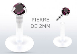 Piercing labret ou tragus pierre violette 2mm