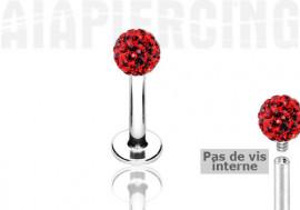 Piercing labret cristaux rouges