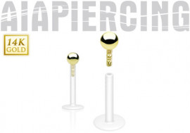 Piercing labret bille or jaune 2mm