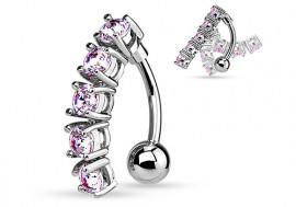 Piercing Nombril inversé articulé pierres roses