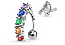 Piercing Nombril inversé articulé pierres multicolores