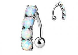 Piercing Nombril inversé opales blanches