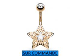 Piercing Nombril étoile plaqué or  rose ajourée et pierre