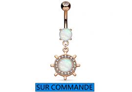 Piercing Nombril Opale et barre marine Plaqué or rose