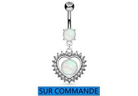 Piercing Nombril Opale, coeur et strass