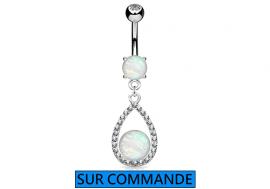 Piercing Nombril goutte opale et strass
