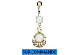 Piercing Nombril oriental Opale plaqué or