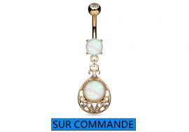 Piercing Nombril oriental Opale plaqué or rose