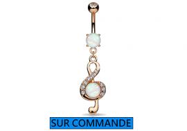 Piercing Nombril clef de sol opale Plaqué or rose