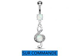Piercing Nombril clef de sol opale et strass