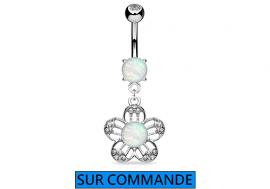 Piercing Nombril fleur Opale et strass