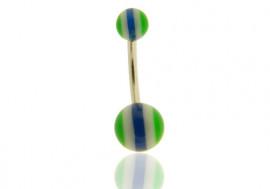 DESTOCKAGE Piercing nombril rayé bleu, blanc et vert