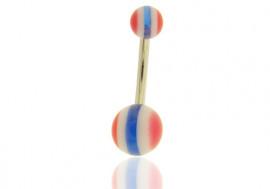 DESTOCKAGE nombril rayé bleu, blanc et rouge