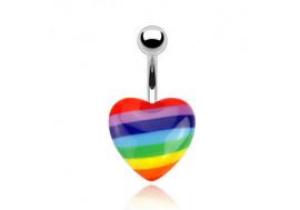 Piercing nombril cœur gay pride