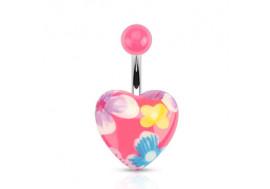 Piercing nombril cœur imprimé fleurs