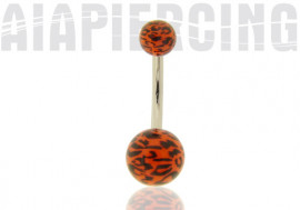 Piercing Nombril léopard orange