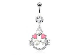 Piercing nombril LOVE et coeur