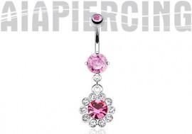 Piercing nombril acier chirurgical fleur de pierres roses