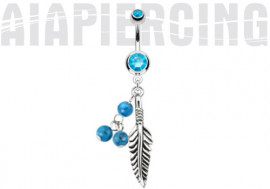 Piercing nombril plume bleu