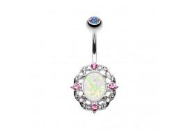 Piercing nombril opale et cristaux roses