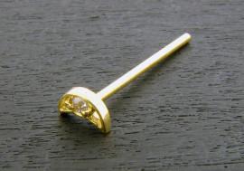 Piercing nez lune ajourée 1 pierre or jaune