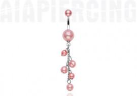 Piercing nombril perles nacrées roses