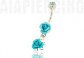 Piercing nombril pendentif roses turquoises
